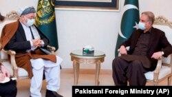 دیدار شاه محمود قریشی (راست)، وزیر خارجه پاکستان با محمد کریم خلیلی