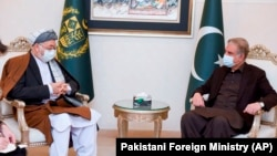 Karim Khalili (left), an influential Afghan Shi'ite leader, meets with Pakistani Foreign Minister Shah Mahmood Qureshi at the Foreign Ministry in Islamabad on January 12.
