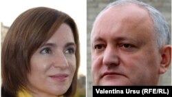 Președinta aleasă Maia Sandu și președintele în exercițiu, Igor Dodon.