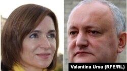 Cei doi candidați care se vor întâlni în turul doi al alegerilor prezidențiale Maia Sandu și Igor Dodon