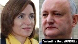 Challenger Maia Sandu (left) and Moldovan President Igor Dodon (combo photo)
