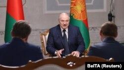 Բելառուսի նախագահ Ալեքսանդր Լուկաշենկոն հարցազրույց է տալիս ռուսական լրատվամիջոցներին, Մինսկ, 8-ը սեպտեմբերի, 2020թ.