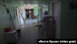 Коридор Сімферопольської клінічної лікарні, скріншот відео «Вести Крым»