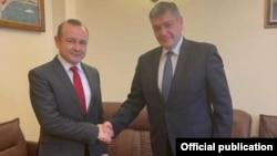 Dumitru Socolan și Andrei Rudenko. Chișinău, 1 aprilie 2021.