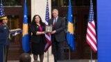 Kosovo: President of Kosovo, Vjosa Osmani handed to the ambassador Philip Kosnett the Presidential Medal for Rule of Law, for late Beau Biden.