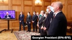 Վրաստան - Եվրոպական խորհրդի նախագահ Շառլ Միշելը տեսակապով մասնակցում է վրացական ընդդիմության և իշխանության կողմից համաձայնագրի ստորագրմանը, Թբիլիսի, 19-ը ապրիլի, 2021թ․