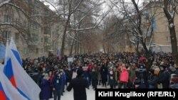 Pro-Navalny demonstrators march in Vologda on January 23.