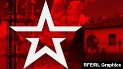 Колаж. Логотип телеканалу «Звезда» Міноборони Росії на тлі села Першокостянтинівка на Херсонщині