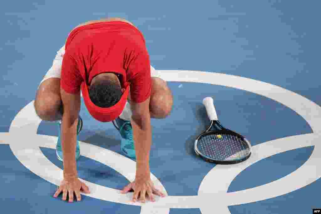 Хорватиялық Мате Павич (суретте) теннистен жұптық сында командаласы Марин Чиличпен бірге олимпиада алтынын алды. 30 шілде 2021 жыл.