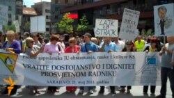 Protest prosvjetnih radnika u Sarajevu