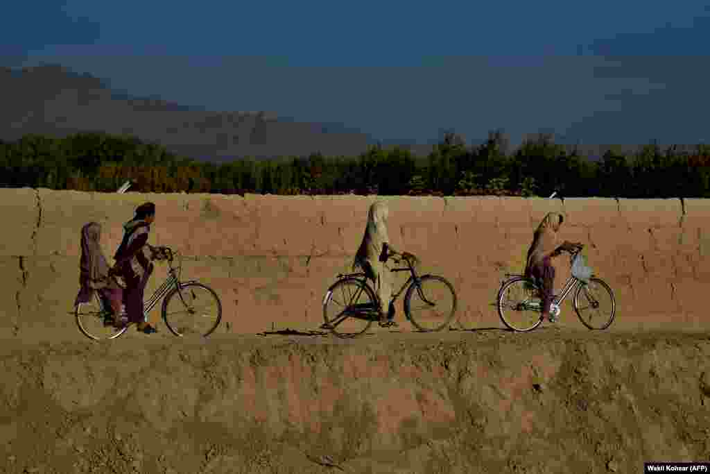 Kids ride bicycles along a road in the Dand district of Kandahar Province in Afghanistan. (AFP/Wakil Kohsar)
