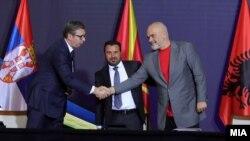 Александар Вучиќ, Зоран Заев и Еди Рама на Економски форум за регионална соработка, Скопје 29 јули 2021
