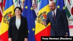Premierul R. Moldova, Natalia Gavrilița, și Președintele Consiliului European, Charles Michel, 27 septembrie, 2021