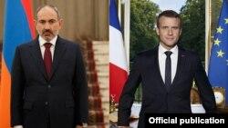 Премьер-министр Армении Никол Пашинян (слева) и президент Франции Эммануэль Макрон
