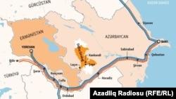 Qarabağ savaşından sonra dəmiryol xəttinin bərpa planı, infografika