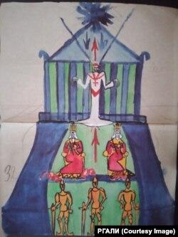 Картина теократии. Заговор пап. Рисунок к лекциям и пояснение Андрея Белого.