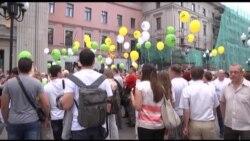 Баннер ко дню рождения Ходорковского на Арбате