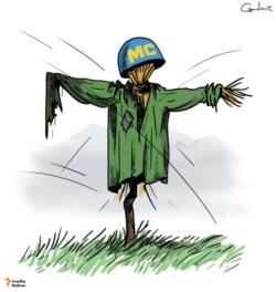 Peacekeeper scarecrow in Karabakh
