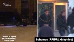 Серед машин, які почали ховатися, журналісти помітили і машину супроводу голови правління приватної газовидобувної компанії «Укрнафтобуріння» Михайла Бакуненка