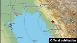 تصویری که مرکز لرزهنگاری آمریکا از محل وقوع زلزله روز یکشنبه در جنوب ایران منتشر کرده است.