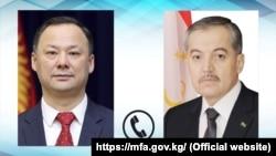 Кыргызстандын жана Тажикстандын ТИМ башчылары Руслан Казакбаев жана Сирожиддин Мухриддин.