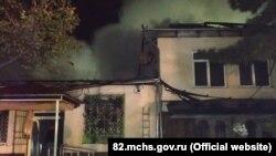 Пожар в магазине промтоваров в селе Вилино Бахчисарайского района Крыма, 27 сентября 2021 года