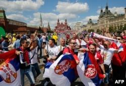 Navijači Srbije u Moskvi tokom Svetskog prventstva 2018. godine
