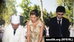 Özbek prezidentiniň gyzy Gülnara Karimowa belli biznesmen Bahodir Karimjonow bilen, 2007.