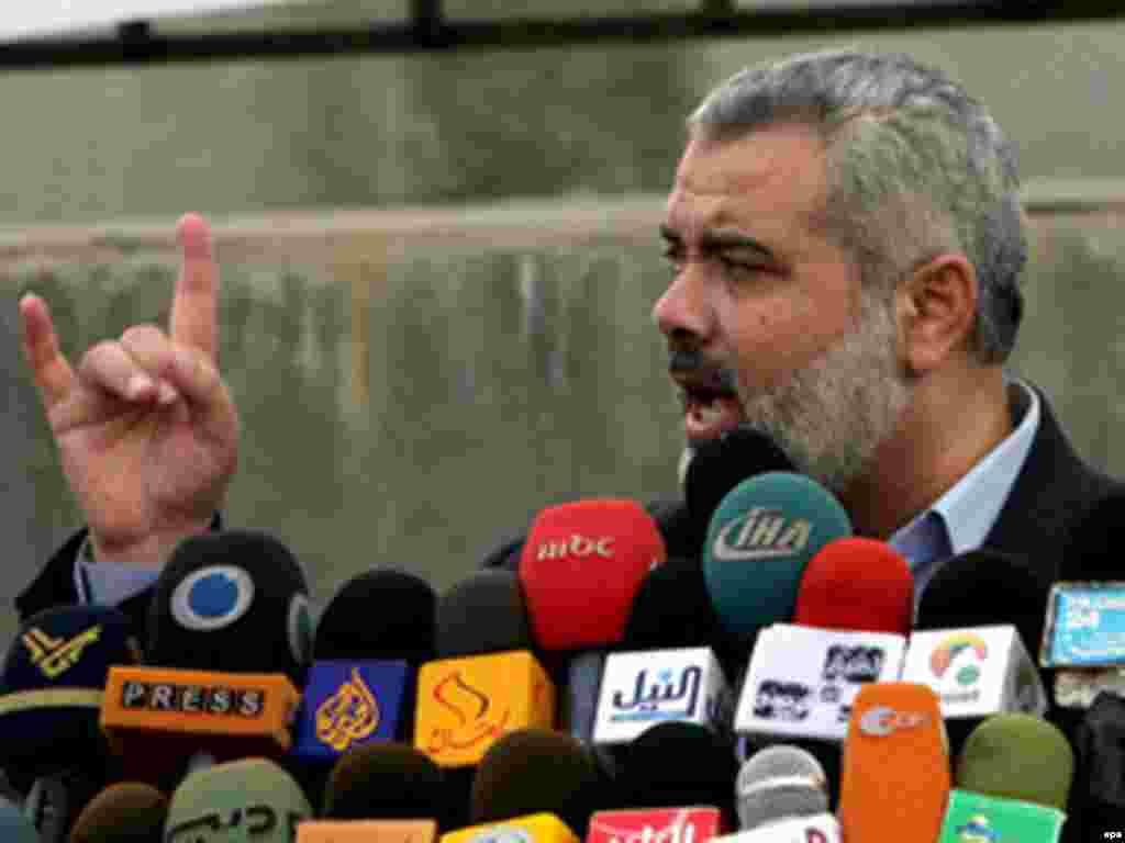 اسماعیل هنیه از رهبران حماس.حماس موجودیت اسرائیل را به رسمیت نمی شناسد.