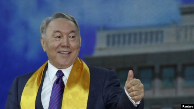 Kazakh President Nursultan Nazarbaev during a postelection rally on April 27