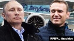 Vladimir Putin și Alexei Navalnîi la aeroportul Viukovo (colaj)
