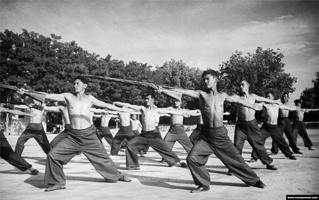 Young men training at a stadium in 1940. An estimated 1.4 million people from Uzbekistan fought in the Red Army during World War II.