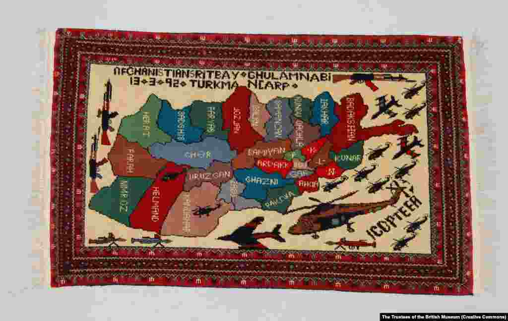 A rug made in 1992, during the Afghan civil war that broke out after the Soviet withdrawal, shows a swarm of military aircraft around a map of Afghanistan.