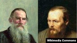 Лев Толстой (слева) и Федор Достоевский
