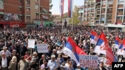 Mitrovica: Protest zbog sporazuma Srbije i Kosova, 22. april 2013.