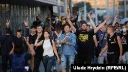 Протестная акция в столице Беларуси. Минск, 10 августа 2020 года