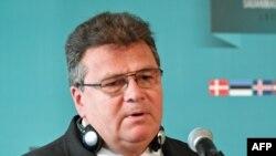 Литванскиот министер за надворешни работи Линас Линкевичиус на прес конференција на 26 август 2016