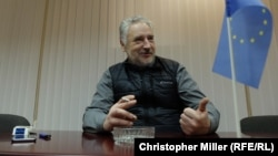 "Pavlo Zhebrivskyy, Donetsk regional governor, inside his office in Kramatorsk. He says ""98 percent of smuggling"" around Novoluhanske ceased after the 46th battalion's arrival."