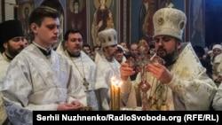 Митрополит Киевский Епифаний во время богослужения ,19 января 2019 года