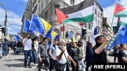 Përkrahësit e partisë së sapothemeluar në Bosnje, BNS VND, në një protestë në mbështetje të palestinezëve. Sarajevë, 14 maj, 2021.