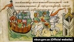 На фото: фрагмент 14-го листа Радзивіллівського літопису (список XV століття), що змальовує похід Віщого Олега на Царгород