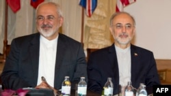 Iranian Foreign Minister Mohammad Javad Zarif (left) and head of the Iranian Atomic Energy Organization Ali Akbar Salehi in Vienna.