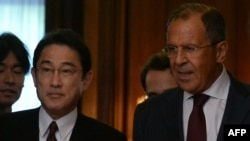 Russian Foreign Minister Sergei Lavrov (right) will also meet with his Japanese counterpart, Fumio Kishida.
