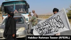 A Taliban check post along a highway in the southeastern Afghan province of Ghazni.
