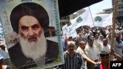Bağdadda Ayatollah Ali al-Sistani tərəfdarlarının yürüşü