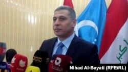 رئيس الجبهة التركمانية أرشد الصالحي يتحدث في مؤتمر صحفي بكركوك