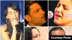 چند خواننده اسرائیلی ایرانی تبار؛ از چپ و در جهت عقربههای ساعت: ریتا جهانفروز، خزی فانیان، مورین نهدار، امیر شاهسر و حنا جهانفروز