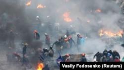 Киевтегі шерушілер мен полицияның қақтығысы. 20 ақпан 2014 жыл.