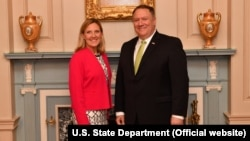 U.S. Undersecretary of State Andrea Thompson (left) and U.S. Secretary of State Mike Pompeo (file photo)