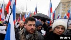 Леонид Волков на мартовской акции памяти убитого в Москве Бориса Немцова